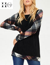 Plaid Red T-shirts Women Spring Black Casual Tops O-neck Loose Tee Shirt