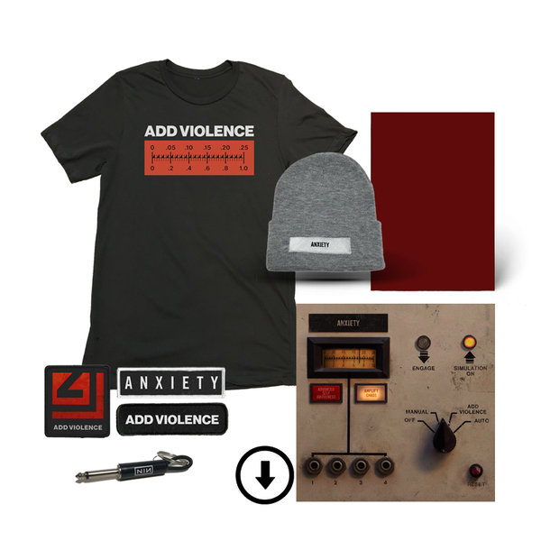 ADD VIOLENCE DIGITAL EP + PHYSICAL COMPONENT + EXCLUSIVE ADD VIOLENCE METER TEE + ANXIETY BEANIE + 3 PATCHES + KEYCHAIN