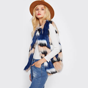 Faux Fur Collarless Autumn/Winter Jacket