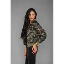 Load image into Gallery viewer, Camo Bomber Jacket