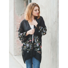 Load image into Gallery viewer, Beautiful Long Black Floral Kimono