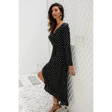 Load image into Gallery viewer, Long Sleeve Polka Dot Ruffle Wrap Maxi Dress