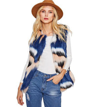 Load image into Gallery viewer, Faux Fur Collarless Autumn/Winter Jacket