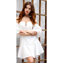 Load image into Gallery viewer, White Lantern Sleeve Dress