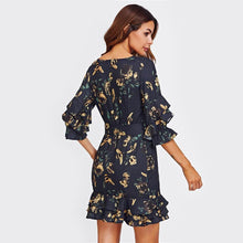 Load image into Gallery viewer, Layered Frill Detail Surplice Floral Wrap Dress