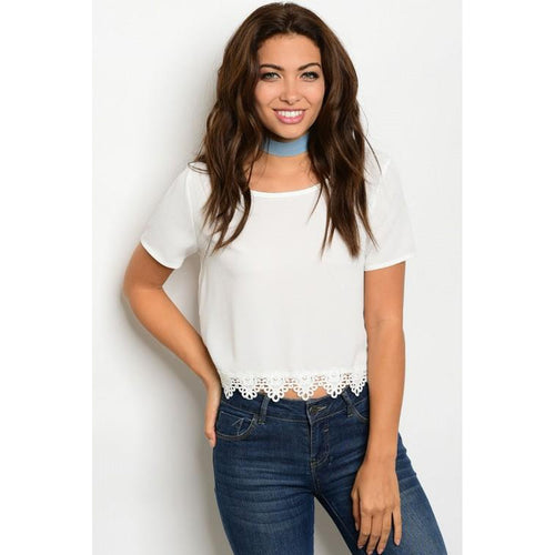 Women's White Crop Top