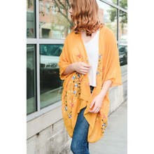 Load image into Gallery viewer, Beautiful Long Mustard Daisy Floral Kimono