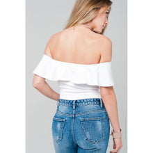Load image into Gallery viewer, Off shoulder ruffle white bodysuit