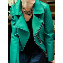 Load image into Gallery viewer, Zipper Detailed Green PU Biker Jacket