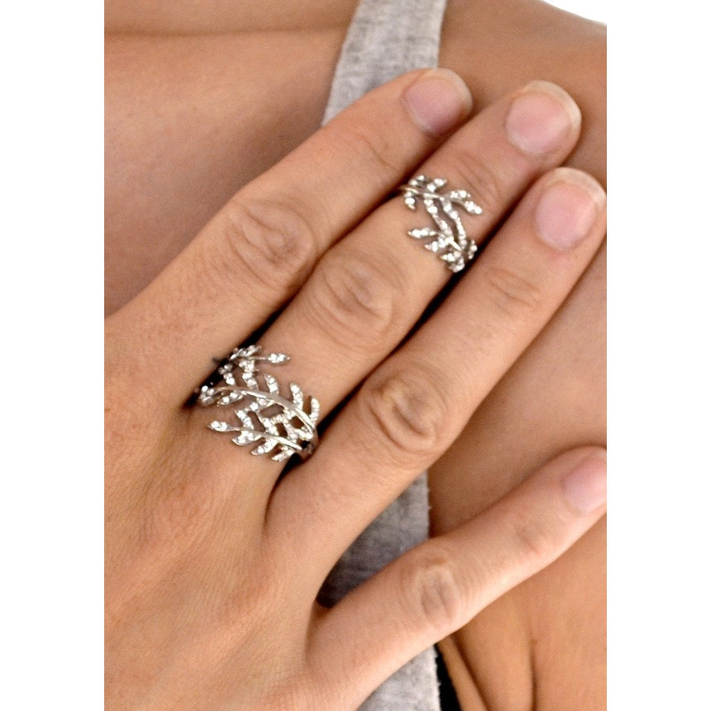 Crystal Encrusted Leaf Chain Linked Knuckle Ring