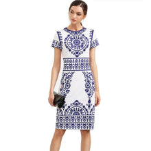 Load image into Gallery viewer, Blue and White sheath print  Vintage Bodycon Dress