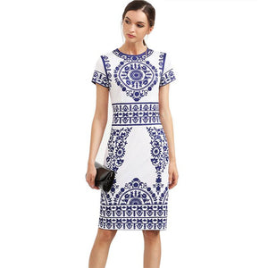 Blue and White sheath print  Vintage Bodycon Dress