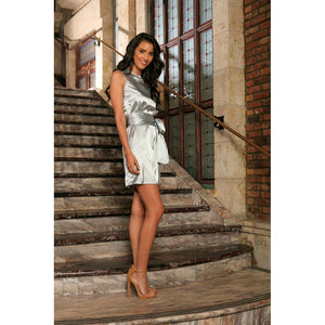 Silver Grey Sleeveless Trendy Cocktail Party Shift Mini Dress - Women