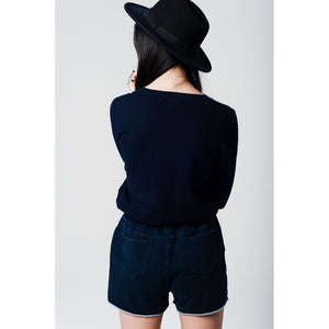 Cropped Navy Knit Sweater with logo