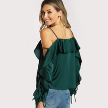 Load image into Gallery viewer, Lace Up Sleeve Flounce Trim Blouse
