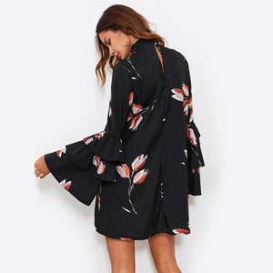 Women's  Black Floral V Neck Long Sleeve Choker Neck Dress