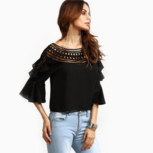 Black Crochet Neck Hollow Out Fare Sleeve Ruffle Blouse