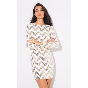 Retro Chevron Sequin Party Dress