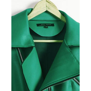 Zipper Detailed Green PU Biker Jacket