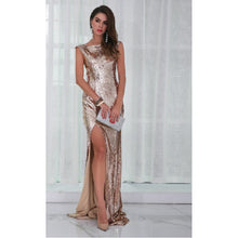Load image into Gallery viewer, High Split Gold Sequin Gown