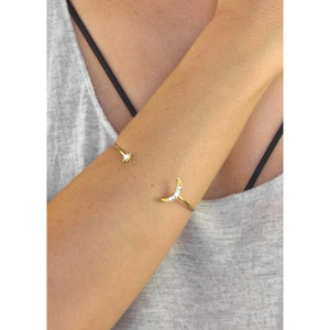 Dainty Moon & Star Crystal Bracelet
