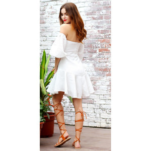 White Lantern Sleeve Dress