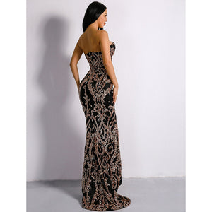 Black Embellished Sequin Gown