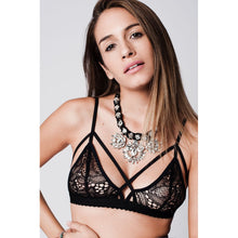 Load image into Gallery viewer, Crochet Lace Strappy Triangle scallop bralette in black