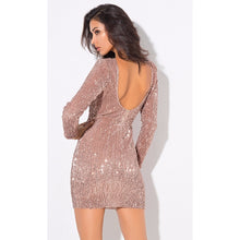 Load image into Gallery viewer, Champagne Sequin Mini Dress