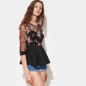 Three Quarter Length Sleeve Flower Top