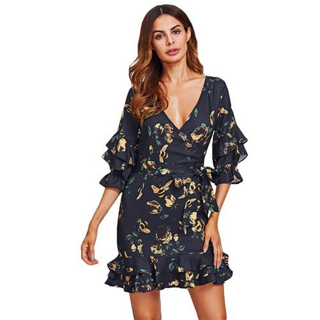 Layered Frill Detail Surplice Floral Wrap Dress