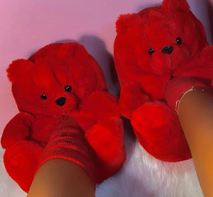 Valentines Day Teddy Bear Slippers