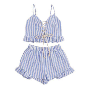 Two Piece Set Blue Striped Sleeveless Lace Up Smocked Crop Cami and Ruffle Short