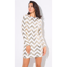 Load image into Gallery viewer, Retro Chevron Sequin Party Dress