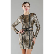 Load image into Gallery viewer, Gold Chain Sequin Dress