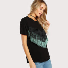 Load image into Gallery viewer, Black Short Sleeve Fringe Trim T-shirt