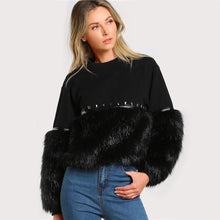 Load image into Gallery viewer, Black Gem Beading Faux Fur Panel Pullover