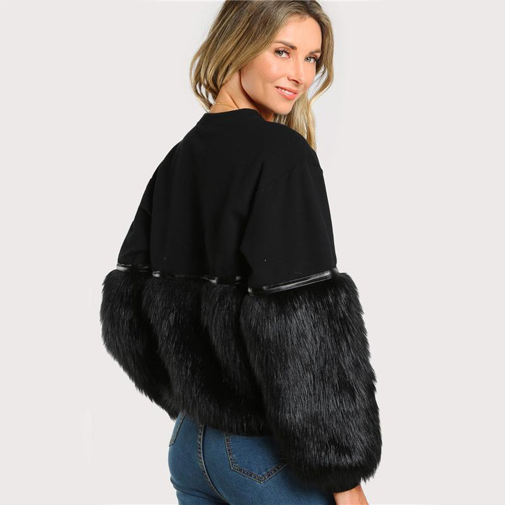Black Gem Beading Faux Fur Panel Pullover