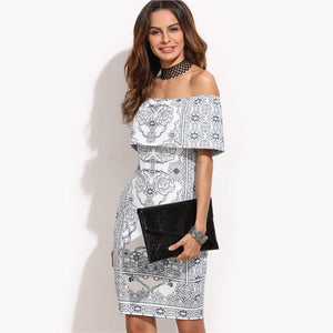 Women's Off The Shoulder Ruffle White Dress