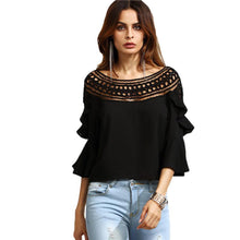 Load image into Gallery viewer, Black Crochet Neck Hollow Out Fare Sleeve Ruffle Blouse