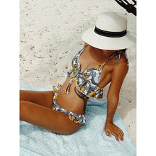 Load image into Gallery viewer, Tropical Pop Print Bikini Set With Ruffle And Tie