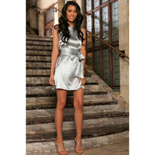 Load image into Gallery viewer, Silver Grey Sleeveless Trendy Cocktail Party Shift Mini Dress - Women