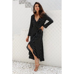 Long Sleeve Polka Dot Ruffle Wrap Maxi Dress