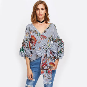 Gathered Sleeve Mixed Print Surplice Wrap Top
