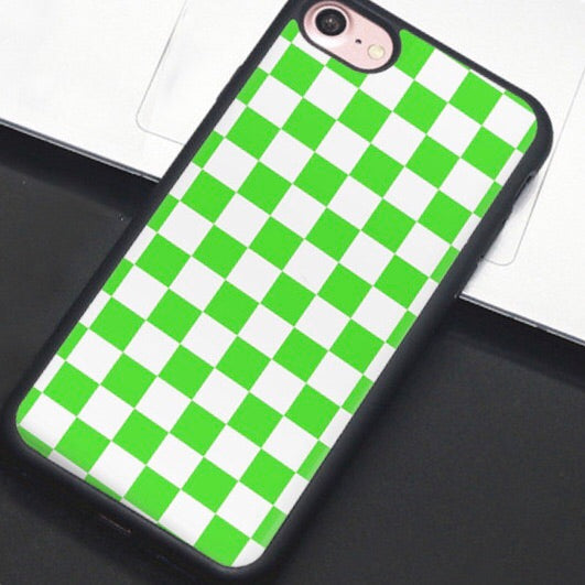 Green & White Checkered IPhone Case