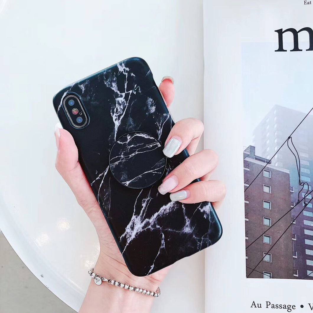 Black & White Marble IPhone Case With Popsocket