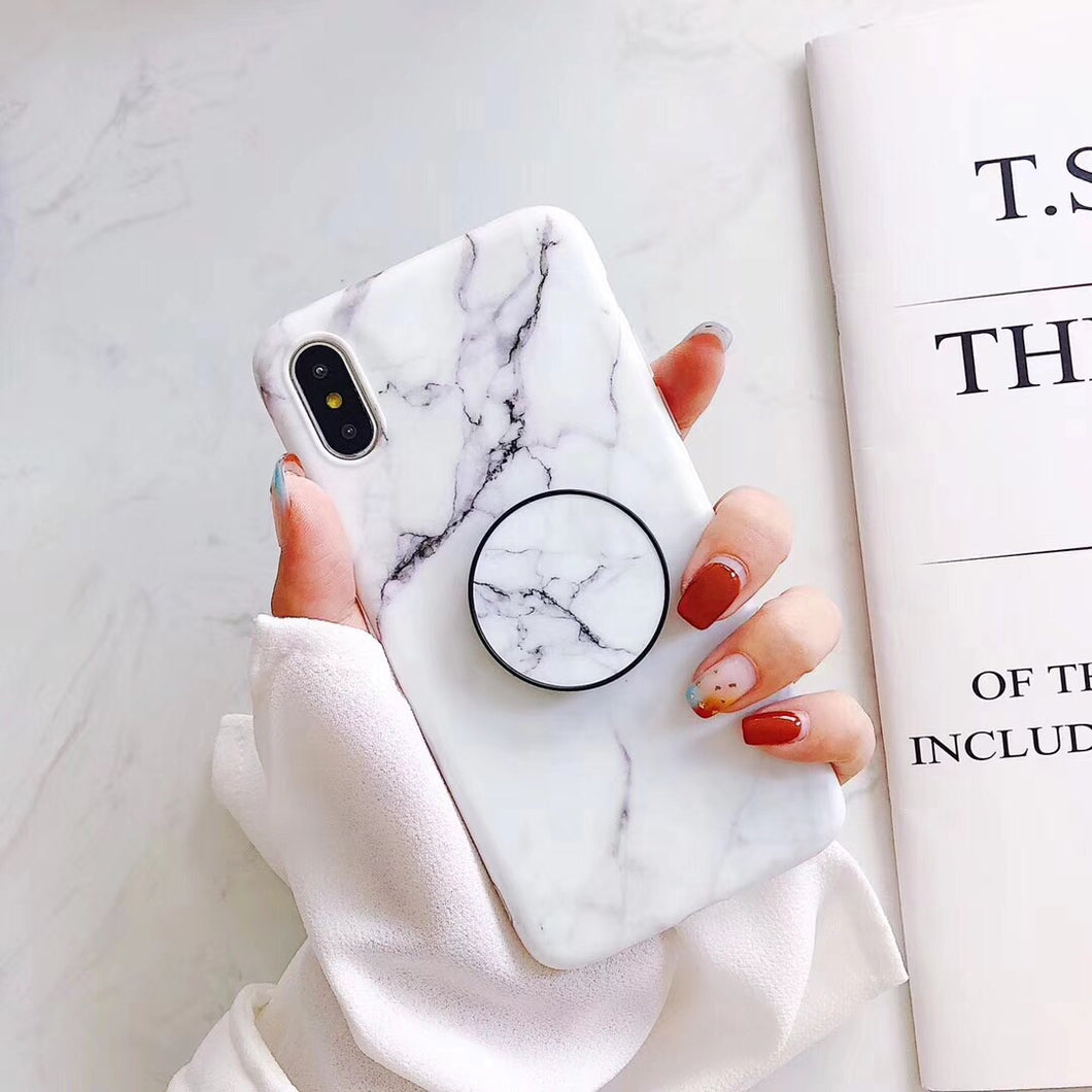 White Marble IPhone Case With Popsocket