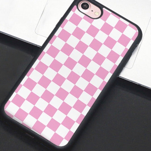 Pink & White Checkered IPhone Case