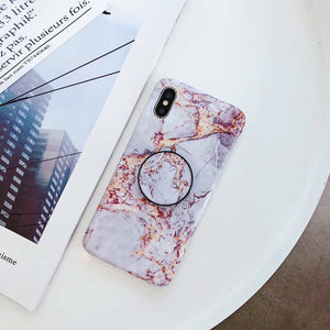 Multi Color Marble IPhone Case With Popsocket