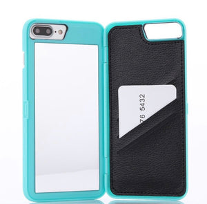 Luxury Glam iPhone Case with Hidden Mirror & Wallet